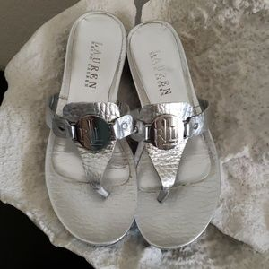 Ralph Lauren Silver Leather Sandals